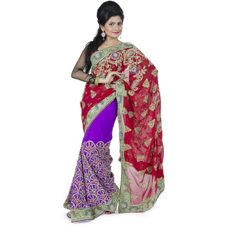 bfac54b56 MAROON PURPLE DESIGNER HAND EMBROIDERED SAREE available at ShopClues for Rs .6660