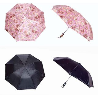 iLiv Printed & Black Umbrella Combo