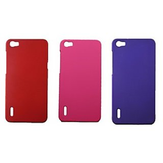 Fcs Rubberised Hard Back Case Cover For Huawei Honor 6  In Matte Finish-Combo Of 3