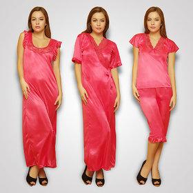 Clovia 4 Pcs Freesize Stretchable Satin Nightwear In Reddish Pink Color