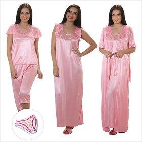 Clovia 4 Pieces Nightwear In Baby Pink