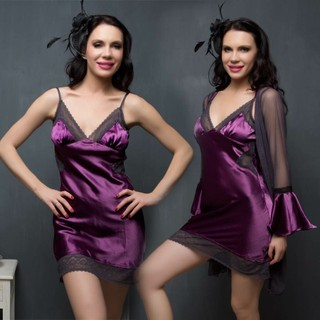 Clovia 2 Pcs Set Of Premium Satin Nightslip And Robe