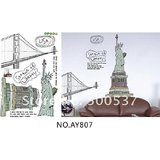Statue Of Liberty Wall Stickers, USA Living Room Removable Wall Stickers, AY807