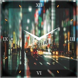 Creative Width City Night Wall Clock