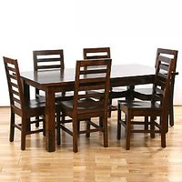 INDIAN HUB DINING TABLE WITH 6 CHAIR-BROWN