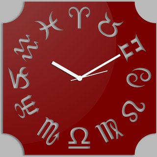 Creative Width Zodiac  Red Wall Clock