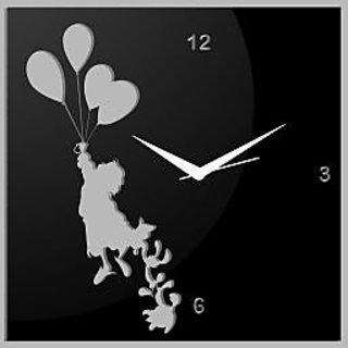 Creative Width Flying With Ballons Black Wall Clock