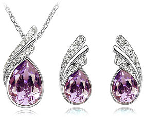 Cyan Silver Plated Purple  Silver Alloy Pendant With Chain  Earrings For Women