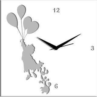 Creative Width Flying With Ballons White Wall Clock