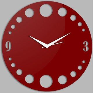 Creative Width Polka Dots Style 2 Red Wall Clock