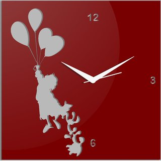 Creative Width Flying With Ballons Red Wall Clock