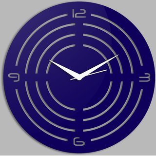 Creative Width Concircle Style 1 Blue Wall Clock