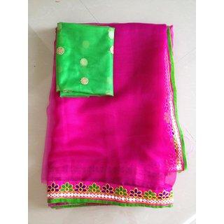 Designer Pink Jute Saree