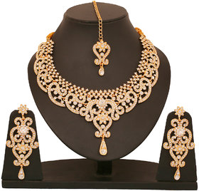 Touchstone AD Opulence Necklace Set With Maang Tika (PWNSL070-02A--Y)