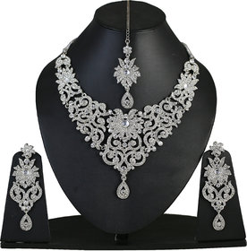 Touchstone Sparkling Silver Austrian Diamonds Necklace Set With Maang Tika (PWNSL114-01A--W)