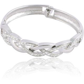 Touchstone Broad AD Kada Style Silver Bracelet