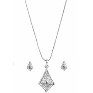 Touchstone Attractive Rhodium Plated Pendant Set