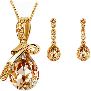 Cyan Gold Plated Golden Necklace Set For Women