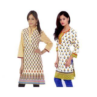 Buyclues Ethnic Pure Cotton Regular Wear Printed Kurti Combo of 2