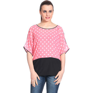 Brands For You Pink Poly Crepe Printed Regular Top