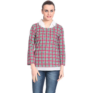 Rute Pink Cotton Top For Women