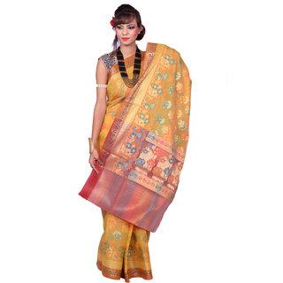 Yellow With Multi Color Katan Silk Saree