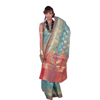 Turquoise Dark With Multi Color Katan Silk Saree