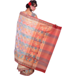 Light Cream With Multi Color Katan Silk Saree