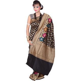 Black Semi With Multi Color Katan Silk Saree