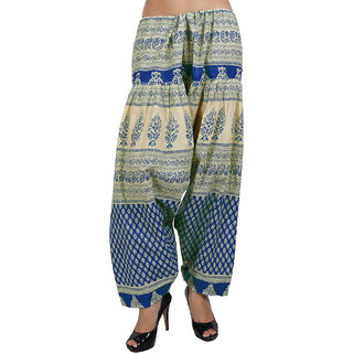 Sukuma Printed Cream Salwar Blue