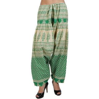 Sukuma Printed Cream Salwar Green
