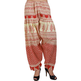 Sukuma Printed Cream Salwar Red
