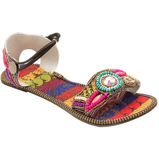 Forever Footwear Women's Multicolor Ethnic Flats