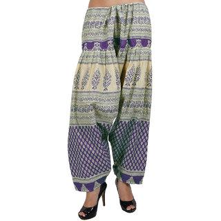 Sukuma Printed Cream Salwar Purple