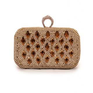 Brown & Bow gold color clutch