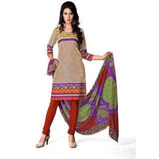 Rudra Fashion Salwar Suit Dupatta Material Beige Crepe & Chiffon (Unstitched)