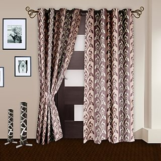 Story@Home maroon  Door Curtain Nature 2 Pc -DNR3037