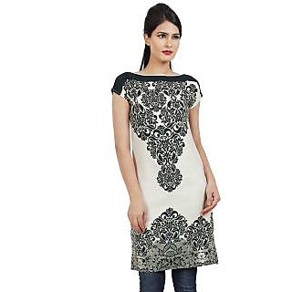 Sukuma Black and White Printed Stitched Kurti