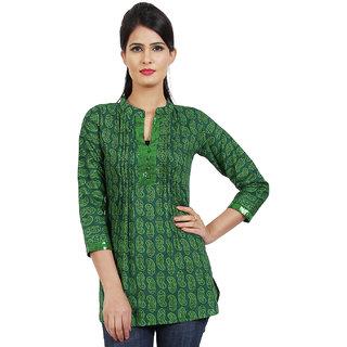 Sukuma Green Embroidered Cotton Stitched Kurti