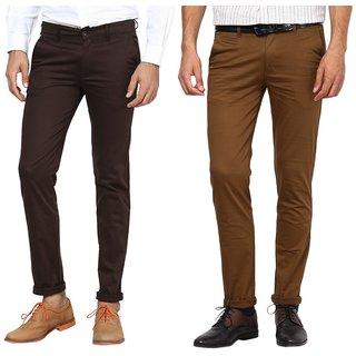 Inspire Combo Of Brown  Dark Khaki Slim Casual Chinos