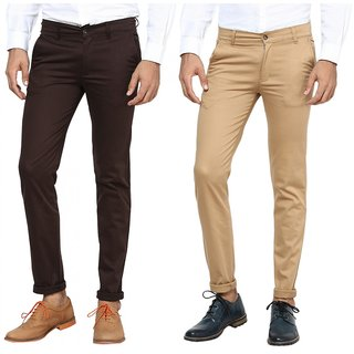 Inspire Combo Of Brown  Khaki Slim Casual Chinos
