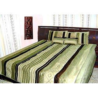 Double Bed Quilt - Pistachio Shade Poly Dupion Silk - Ruffle Design