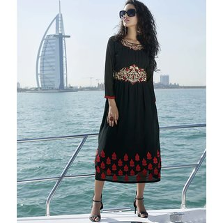 Black color Faux Georgette Kurti