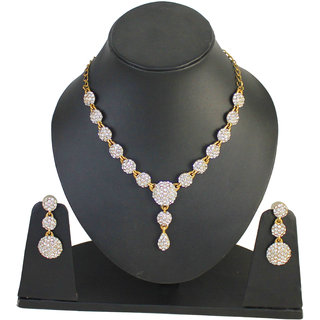 Touchstone Pleasing Golden Austrian Diamonds Necklace Set (PWNSL270-01A--M)