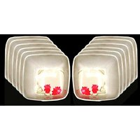 Set Of 12 Pcs Trendy White Melamine Vegetable Bowls Design 15