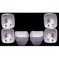 Set Of 12 Pcs Trendy White Melamine Vegetable Bowls Design 16