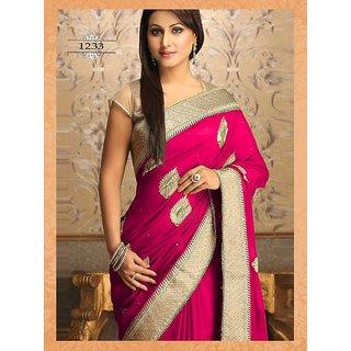 Bollywood Heena Khana Inspired Magenta Color Saree