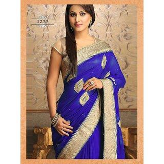 Bollywood Heena Khana Inspired Blue Color Saree
