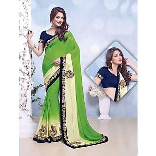 Thankar online trading Brown Georgette Plain Saree With Blouse