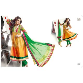 Zarine khan Anarkali suit with multi color  combination